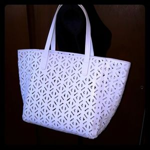 GORGEOUS white cut-out tote bag